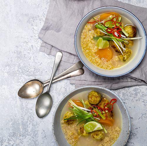 Jerk Chicken Meatball Soup