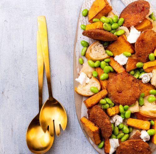 Edamame, Pumpkin and Fried Salami Autumn Salad