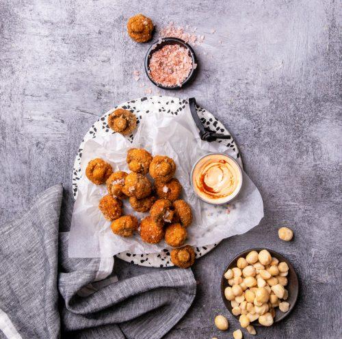 Macadamia Crusted Mushrooms with Chipotle Mayo
