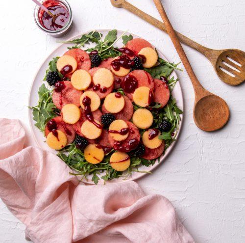 Melon Salad with Blackberry Vinaigrette