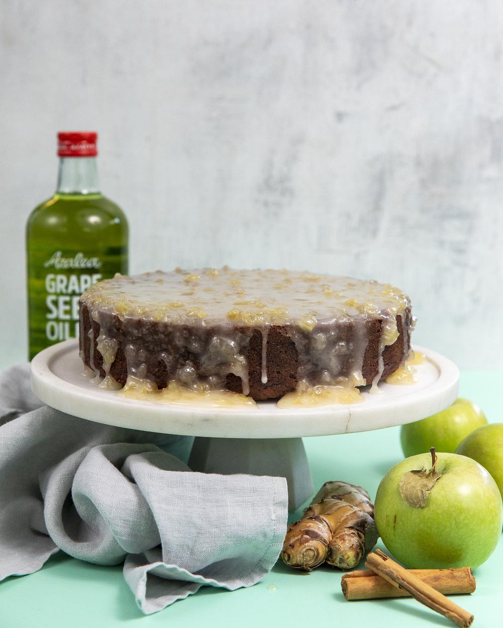 Spiced Apple Spelt Cake with Ginger Glaze