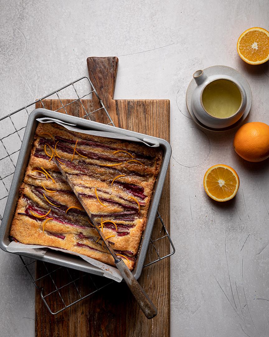 Rhubarb Sour Cream Cake with Orange Syrup
